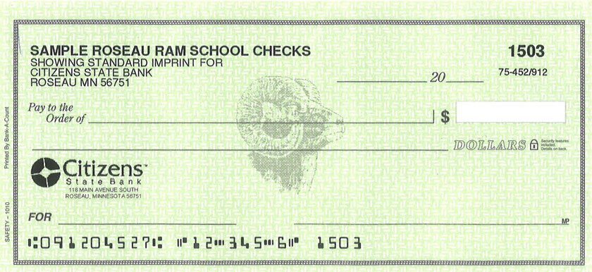 Citizens State Bank Check with Roseau Rams Logo
