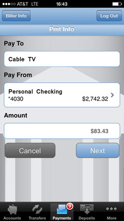 Mobile Bill Pay Screenshot