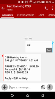 Text Banking Screenshot
